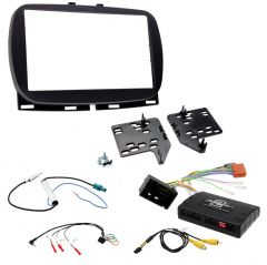 Fiat 500 2017> Double Din Stereo Fascia / Steering / Antenna / Info Adapter Upgrade Kit