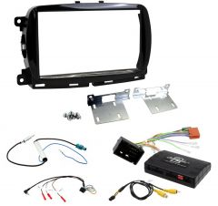 Fiat 500 2015> Double Din Stereo Fascia / Steering / Antenna / Info Adapter Upgrade Kit