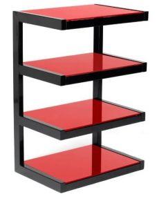Norstone ESSE HiFi 4 shelf TV/ HI-FI Stand in Black / Red Finish