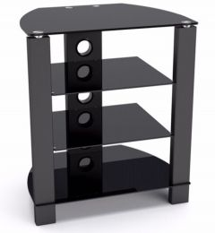 TTAP Vision HiFi Stand in Black with Black Glass
