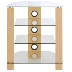 TTAP Vision HiFi Stand in Oak with Clear Glass